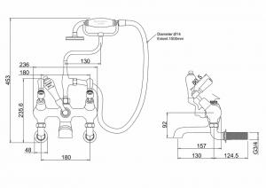 Настенный смеситель Burlington для ванны KE21 схема