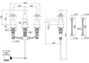 Смеситель Burlington для раковины на три отверстия Regent ANR12 схема