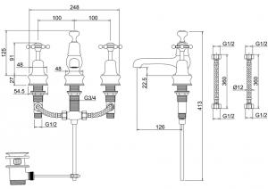 Смеситель Burlington для раковины на три отверстия Regent BIR12 схема