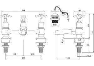 Смеситель Burlington для раковины на два отверстия Regent CLR10 схема