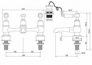 Смеситель Burlington для раковины на два отверстия Regent KER10 схема