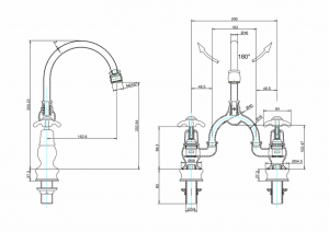 Смеситель Burlington для раковины на два отверстия Regent ANR27 W1 схема