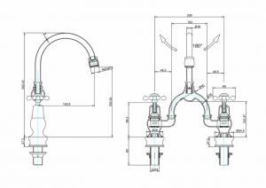 Смеситель Burlington для раковины на два отверстия Regent CLR27 W1 схема