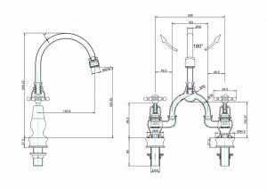 Смеситель Burlington для раковины на два отверстия Regent BIR28 W9 схема