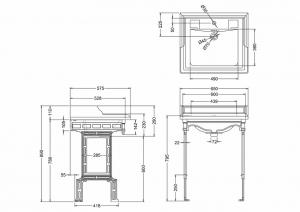 Подстолье с раковиной Burlington Classic B15 T48 BLA схема