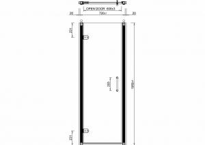 Дверь распашная Burlington C19 в нишу для душа схема