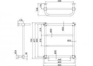 Полотенцесушитель Burlington Cleaver R3 CHR схема