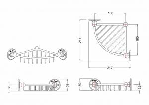 Угловая полочка-решетка Burlington A21 CHR схема