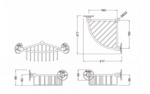 Угловая полочка-решетка Burlington A22 CHR глубокая схема