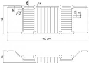 Раздвижная полка Burlington A27 CHR на ванну схема