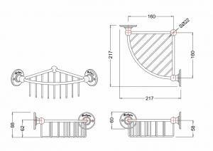 Угловая глубокая полочка-решетка Burlington A22 GOL схема