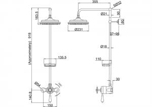 Душевая стойка с внешним термостатом H5BI