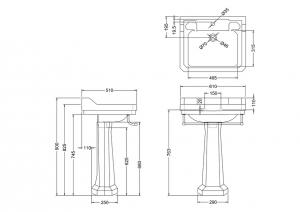 Раковина Edwardian Burlington B5 P1 T3CHR схема