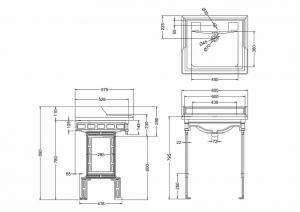 Подстолье с раковиной Burlington Classic B15 T43WHI схема