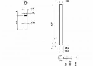 Декоративные трубы подвода воды Burlington W6 схема