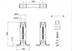 Декоративные трубы подвода воды Burlington W7 с горизонтальной перемычкой схема