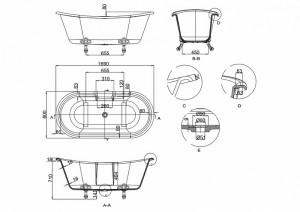 Ванна Arcade Vine 169х80 с ножками схема