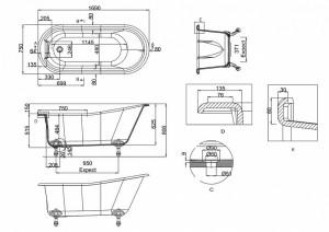 Ванна Arcade Sackville 169х75 с ножками схема