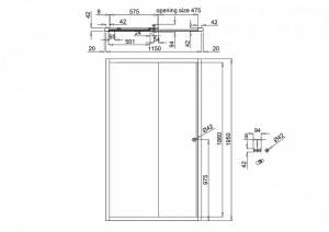 Раздвижная дверь Arcade 1200мм схема