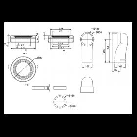 Керамический сифон C26 с выпуском в пол для унитаза Burlington схема