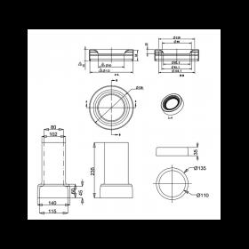 Керамический сифон C29 с горизонтальным отводом для унитаза  Burlington схема