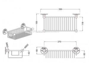 Полка-решетка глубокая Burlington A23 CHR схема
