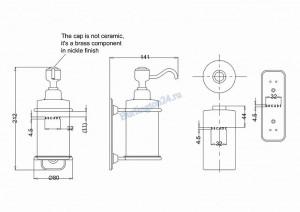 Керамический дозатор Arcade ARCA19 CHR для жидкого мыла схема