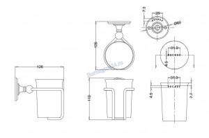 Керамический стакан Arcade ARCA2 CHR настенный схема