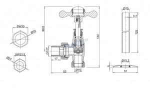 Вентили Arcade для полотенцесушителя ARCR6 CHR схема