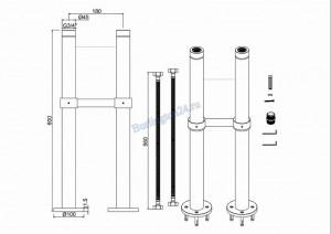 Напольные внешние трубы Arcade для подвода воды ARCW7 CHR схема
