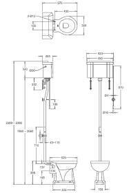 Унитаз с высоким бачком Burlington C28S+T30CHR+P2 схема