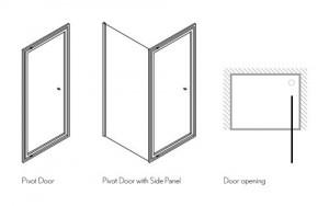 Душевой уголок Burlington Britton с распашной дверью и боковым экраном 90х90 схема