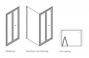Дверь BIFOLD 1000 мм с боковым экраном 1000 мм схема