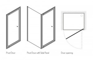 Дверь PIVOT 900 мм с боковым экраном 1000 мм схема