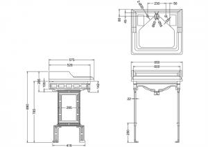 Подстолье с раковиной Burlington B14 T38ALU схема