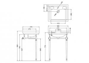 Подстолье с раковиной Contemporary Burlington B1 T22ACHR схема