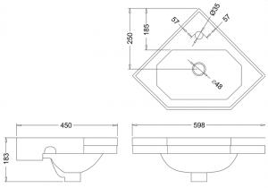 Раковина Burlington угловая B10 схема