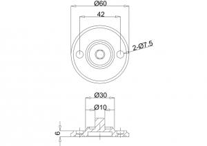 Элемент крепления Burlington G13 WAL орех для аксессуаров на мрамор и гранит схема