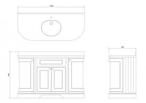 Тумба Burlington с дверками с белой мраморной столешницей и раковиной FC1W-R+ВW13 схема
