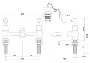 Смеситель Burlington для раковины на два отверстия KE10 WAL  схема