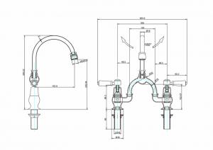Смеситель Burlington для раковины на два отверстия KE27 WAL W1 схема