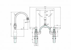 Смеситель Burlington для раковины на два отверстия KE28 WAL W9 схема