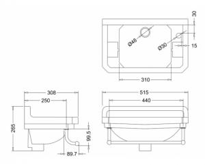 Раковина Edwardian Burlington на 1 отверстие справа с полотенцедержателем - схема