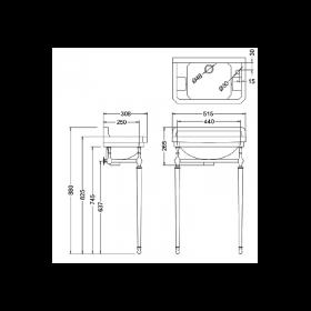 Раковина Edwardian Burlington на 1 отверстие слева с подстольем - схема