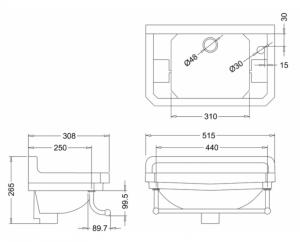 Раковина Edwardian Burlington на 1 отверстие слева с полотенцедержателем - схема