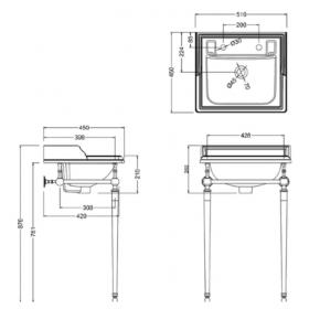Подстолье с раковиной Edwardian Burlington B20 T52CHR схема