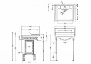 Подстолье с раковиной Burlington Classic B15 JET T48 BLA схема