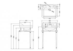 Подстолье с раковиной Edwardian Burlington B4 JET T22ACHR схема