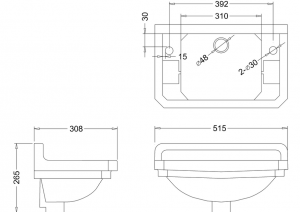 Раковина Edwardian Burlington B8 JET на 1 отверстие слева или справа схема