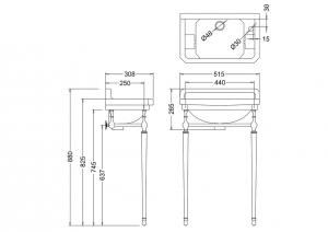 Раковина Edwardian Burlington B8 JET на 1 отверстие слева или справа с подстольем схема